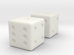 Sicherman Dice in White Natural Versatile Plastic