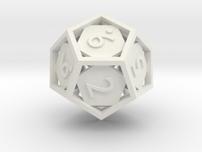 Open 12-sided Die in White Natural Versatile Plastic