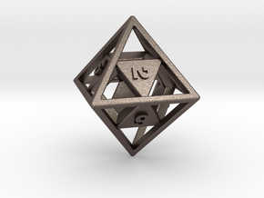 """""""Open"""" d8 - Eight-sided die in Polished Bronzed Silver Steel"""