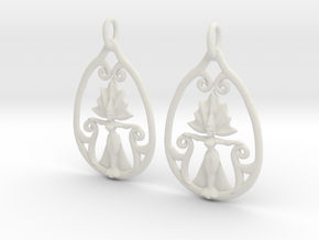 Art Nouveau Goddess of Progress Earrings in White Natural Versatile Plastic