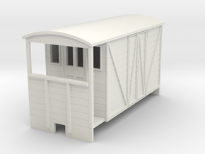 OO9 Brake van (long) with paneled door  in White Natural Versatile Plastic