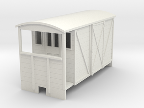 OO9 brake van (long) with sliding door in White Strong & Flexible