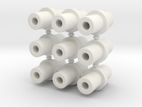 Double-ended 5mm pegs (x9) in White Natural Versatile Plastic