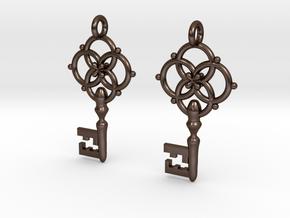 Old Key Earrings in Polished Bronze Steel