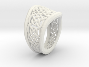 Another Celtic Knot Ring in White Natural Versatile Plastic