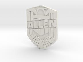 Allen Badge in White Natural Versatile Plastic