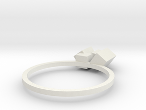 Cubes Ring 02 in White Natural Versatile Plastic
