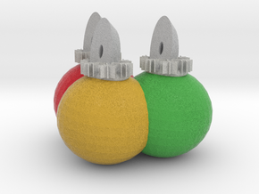 3 Xmas Ornaments sculpture in Full Color Sandstone