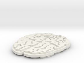 Brain Pendent in White Natural Versatile Plastic