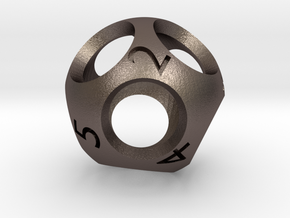 Hollow d9 - Nine-sided Die in Polished Bronzed Silver Steel