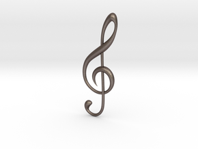 Classic Treble Clef Pendant in Polished Bronzed Silver Steel