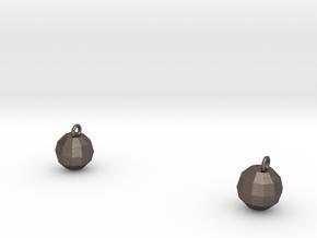 Xmas Ball Earrings in Polished Bronzed Silver Steel