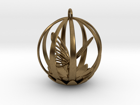 Butterfly Cage Pendant in Natural Bronze