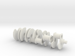 [W12 1:5 Scale Engine] Crankshaft in White Natural Versatile Plastic