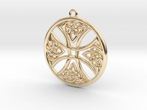 Round Celtic Cross Pendant in 14K Yellow Gold: Medium