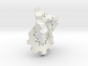 Knotted Cog (small) in White Natural Versatile Plastic