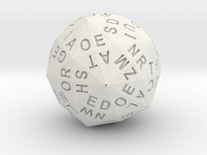 d120 Alphabet Dice in White Natural Versatile Plastic