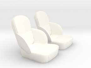1/12 50s Sport Seat Pair in White Strong & Flexible Polished