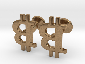 Bitcoin Cufflinks in Natural Brass