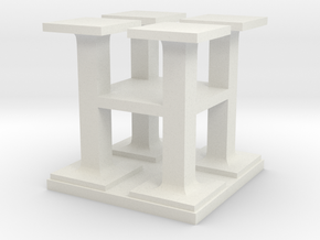 Two way letter / initial H&H in White Natural Versatile Plastic