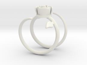 Rose ring 2 in White Natural Versatile Plastic