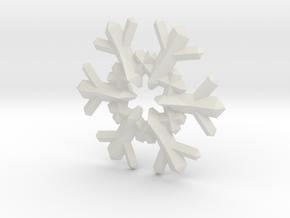 Snow Flake 6 Points F - 4cm in White Natural Versatile Plastic