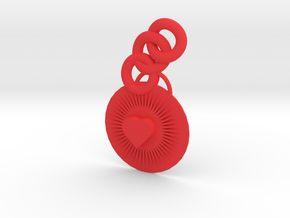 Bright Heart Pendant in Red Processed Versatile Plastic