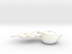 3ds Max Tea Pot Key Ring in White Strong & Flexible Polished
