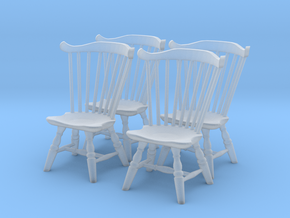 1:43 Fan Back Chairs (Set of 4) in Smooth Fine Detail Plastic