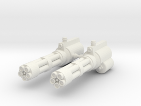 Action Figure Gatling Guns in White Natural Versatile Plastic