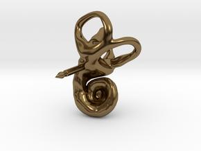 Inner Ear (Cochlea) Lapel Pin in Polished Bronze