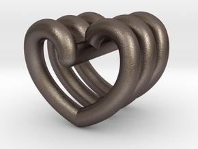 Heart Helix Pendant in Polished Bronzed Silver Steel