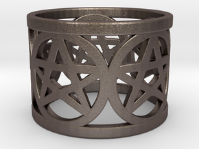 Ring of 5 Pentagrams in Polished Bronzed Silver Steel