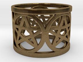 Ring of 5 Pentagrams in Natural Bronze
