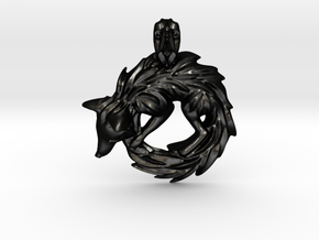 Fox Pendant in Matte Black Steel