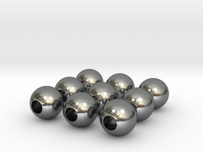 9 Beads in Polished Silver