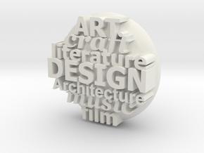 S42 Ellipse Pendant Design, etc. 1 mm walls @40 mm in White Natural Versatile Plastic