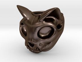 Cat Skull Ring in Polished Bronze Steel