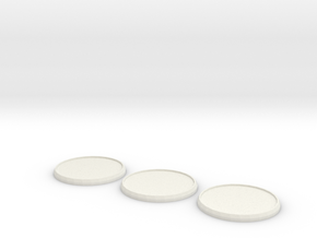 Round Model Base 40mm X3 in White Natural Versatile Plastic