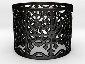 Snow Flake Filigree Ring in Matte Black Steel