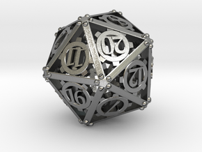 Steampunk d20 in Natural Silver