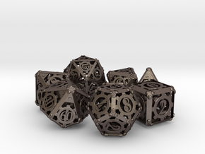 Steampunk Dice Set in Polished Bronzed Silver Steel