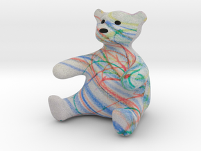 Color Me Teddy Bear Sculpture - Small in Full Color Sandstone