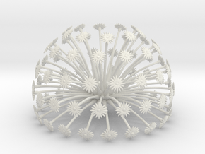 Flowerhead 8 - maximum density in White Natural Versatile Plastic
