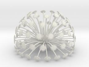 Flowerhead 8 - maximum density in White Natural Versatile Plastic