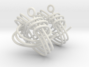 Monkey Fist Earings in White Natural Versatile Plastic