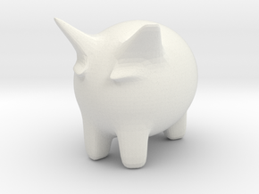 Mini Moo Yeow in White Natural Versatile Plastic