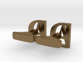 typeface cufflinks in Raw Bronze