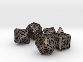 Steampunk Dice Set noD00 in Polished Bronzed Silver Steel