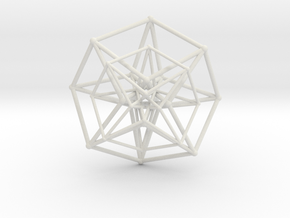Hypercube Double  50mm in White Natural Versatile Plastic